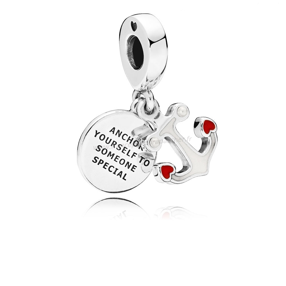 Vente Bijoux Ancre Of Amour Dangle Charms Rouge & Noir Émail Pandora Magasin