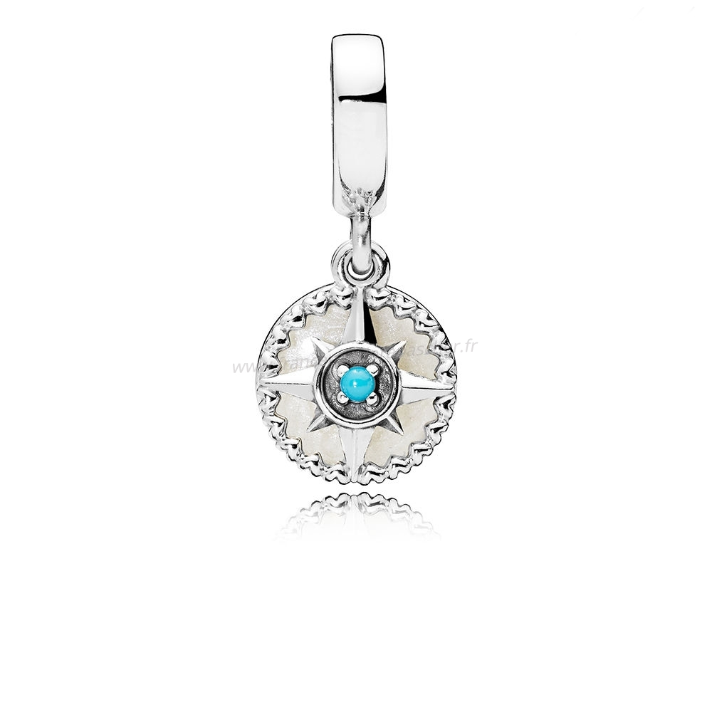 Vente Bijoux Boussole Rose Dangle Charms Argent Émail & Cyan Bleu Cristal Pandora Magasin