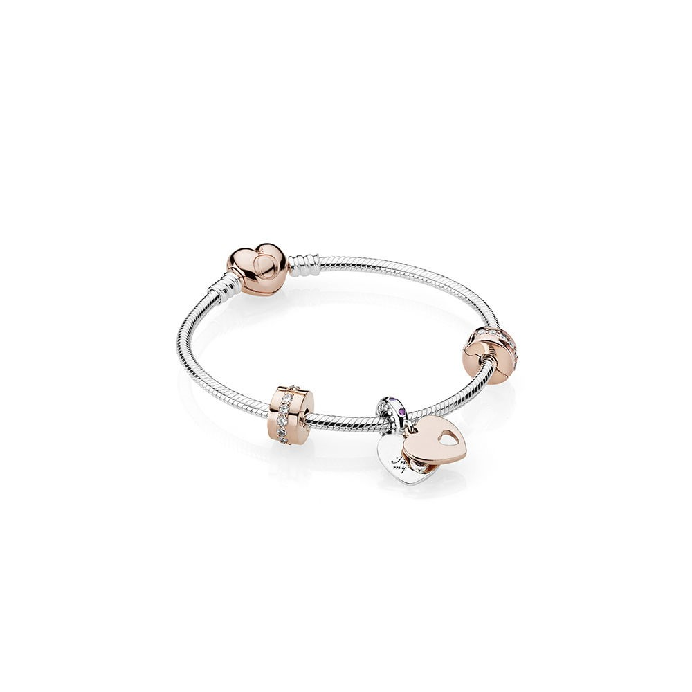 Vente Bijoux Dans Mon Coeur Bracelet Cadeau Ensemble Pandora Rose Clear Cz And Multi Colored Cristaux Pandora Magasin