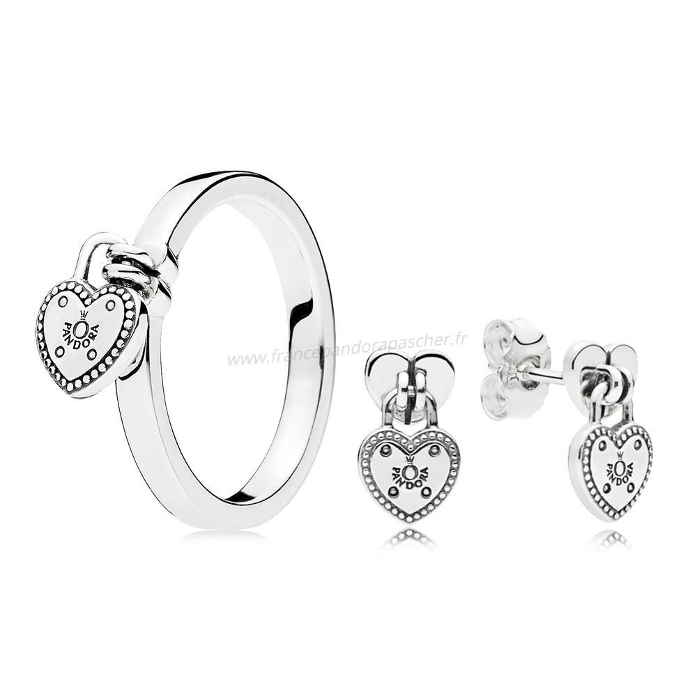 Vente Bijoux Amour Fermer A Cle Bague And Earring Set Pandora Magasin