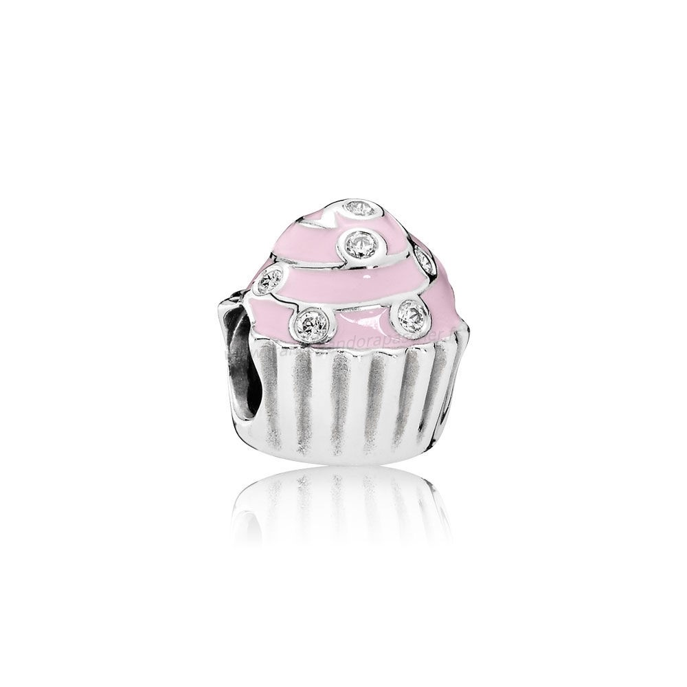 Vente Bijoux Anniversaire Charms Sweet Cupcake Charm Lumiere Rose Email Clear Cz Pandora Magasin
