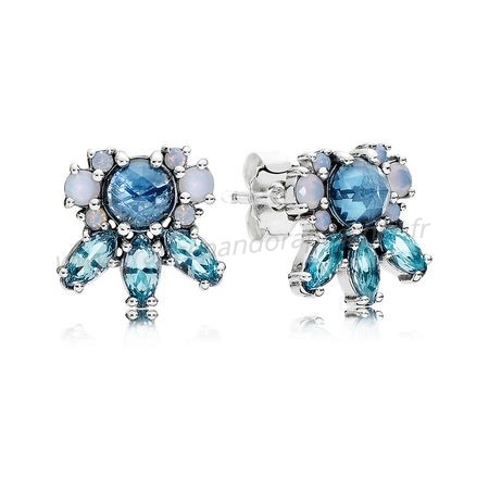 Vente Bijoux Boucles D'Oreilles Patterns Of Frost Stud Multi Colored Crystal Pandora Magasin