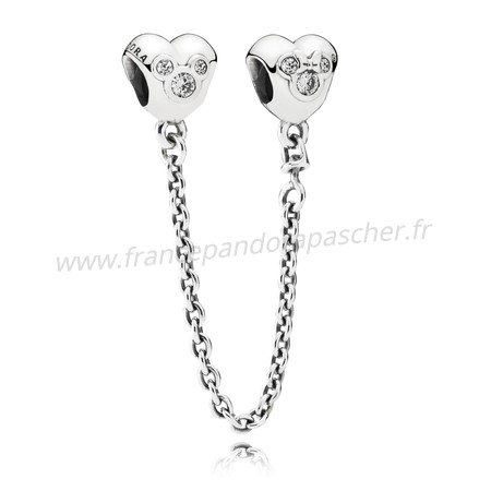 Vente Bijoux Chaines De Securite Disney Coeur De Mickey Chaine De Securite Clear Cz Prix Pandora Magasin