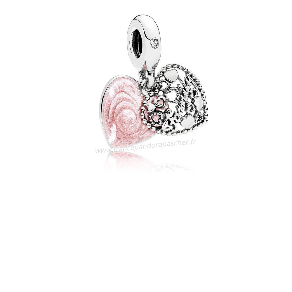 Vente Bijoux Charms Famille Amour Fait A Famille Rose Email Clear Cz Pandora Magasin