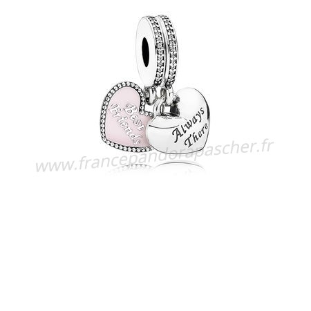 Vente Bijoux Dangle Charms Meilleur Amis Soft Rose Email Clear Cz Pandora Magasin