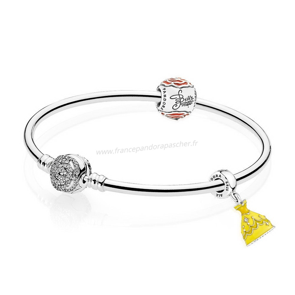 Vente Bijoux Disney Belle'S Enchanted Rose Bracelet Set Pandora Magasin