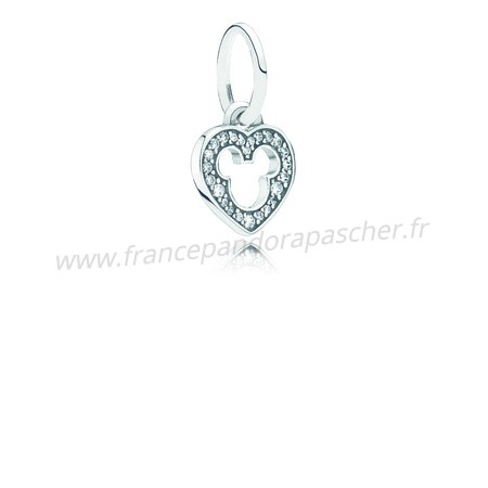 Vente Bijoux Disney Mickey Silhouette Dangle Charm Clear Cz Pandora Magasin