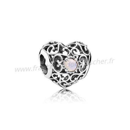 Vente Bijoux Octobre Signeature Coeur Charme Opalescent Rose Crystal Pandora Magasin
