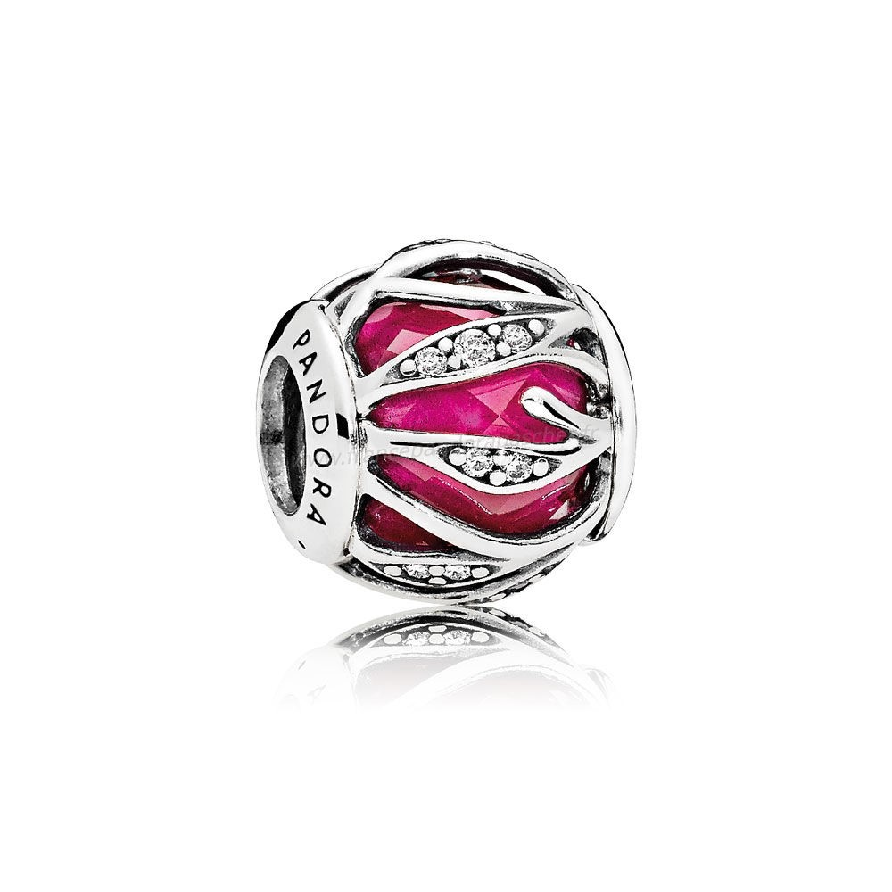 Vente Bijoux Pandora Breloque De Couleur Breloque Nature'S Radiance Synthetic Ruby Clear Cz Pandora Magasin