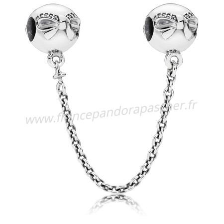 Vente Bijoux Pandora Chaines De Securite Dainty Bow Safety Chain Clear Cz Pandora Magasin