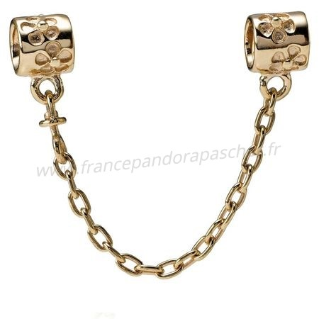 Vente Bijoux Pandora Chaines De Securite Fleur Charm Chaine De Securite 14K Or Pandora Magasin