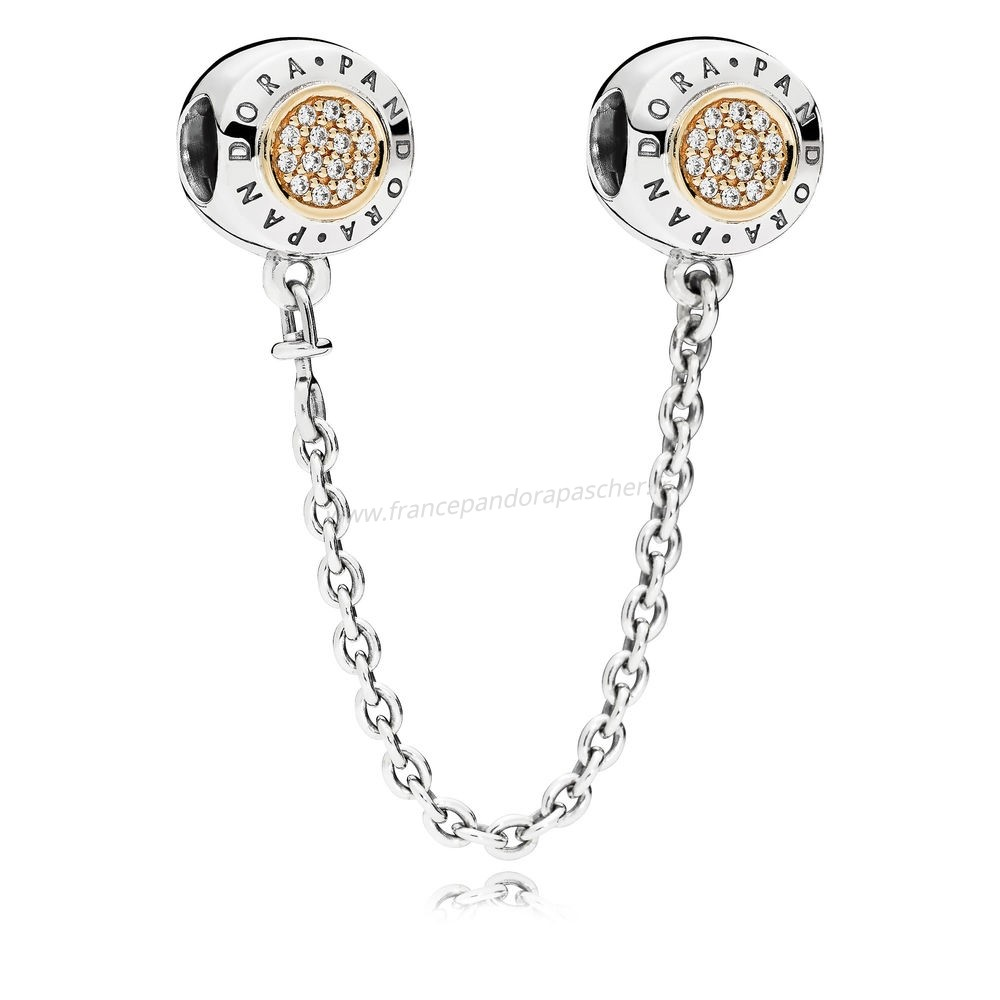 Vente Bijoux Pandora Chaines De Securite Pandora 14K Signeature Chaine De Securite Clear Cz Pandora Magasin