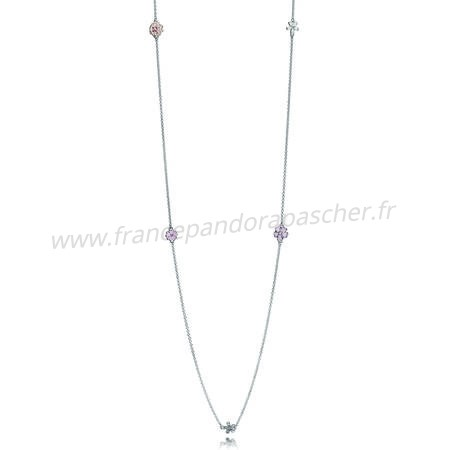 Vente Bijoux Pandora Chaines Poetique Fleurs Collier Melange Emaux Clear Cz Blush Rose Crystal Pandora Magasin
