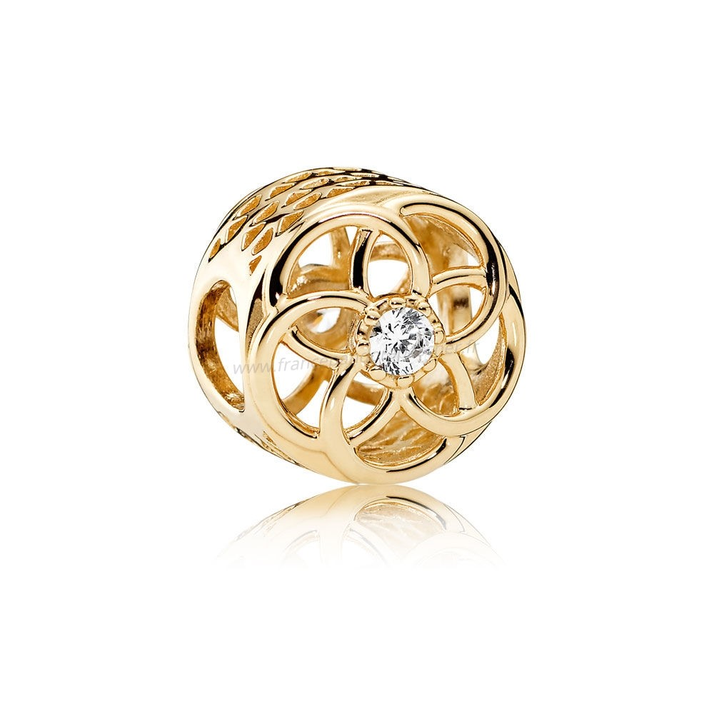 Vente Bijoux Pandora Charms Charme Charme Bloom 14K Or Clear Cz Pandora Magasin
