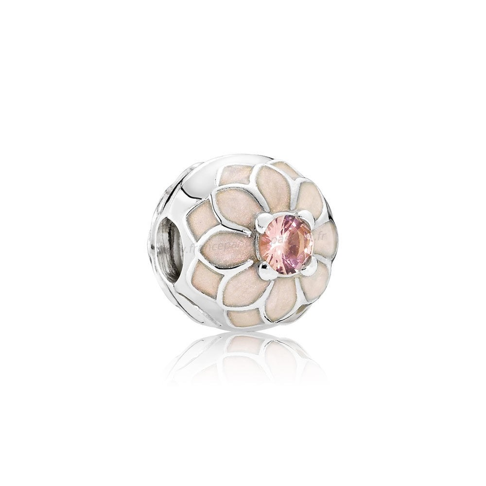 Vente Bijoux Pandora Clips Breloques Blooming Dahlia Clip Creme Email Blush Rose Crystal Pandora Magasin