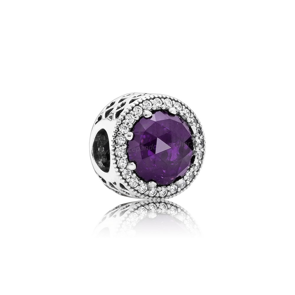 Vente Bijoux Pandora Collection Coeurs De Pandora Radiant Coeurs Charme Royal Violet Crystal Clear Cz Pandora Magasin