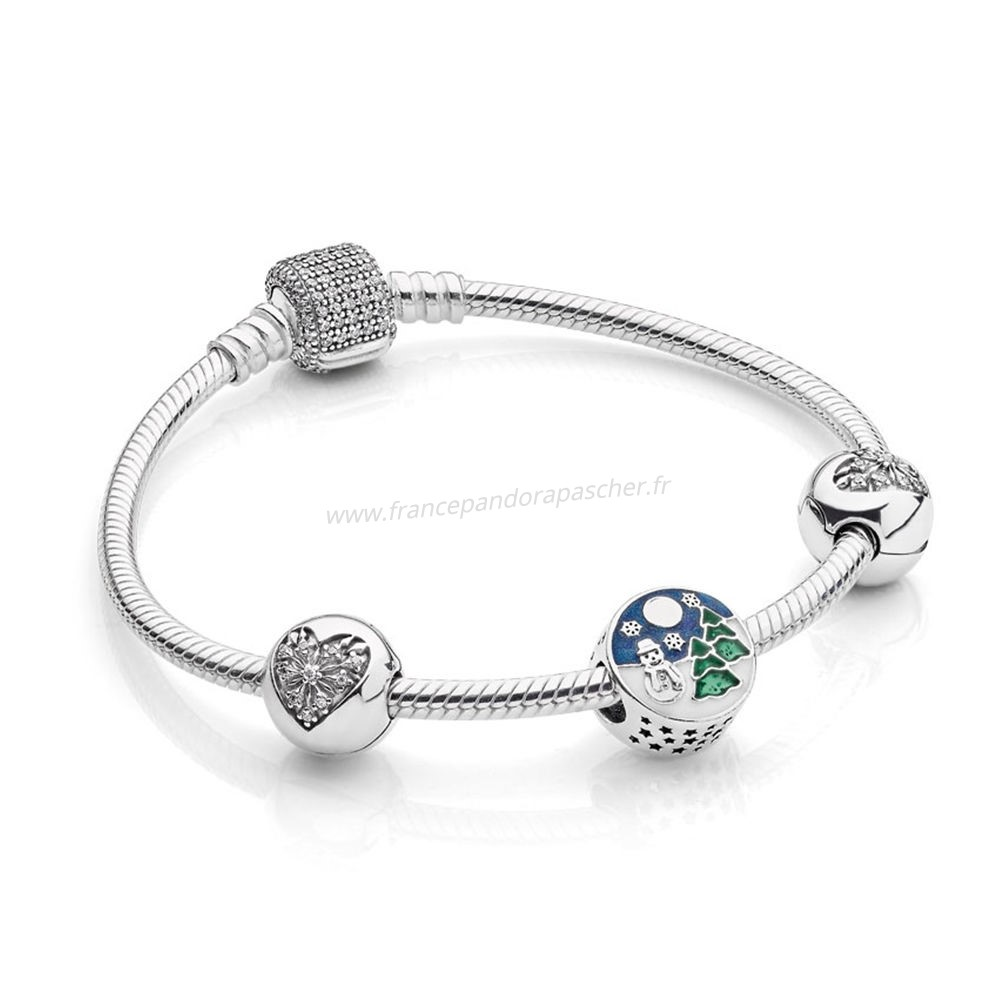 Vente Bijoux Pandora Collection D'Hiver Snowy Wonderland Bracelet Cadeau Set Pandora Magasin