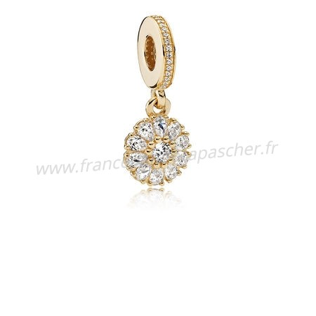 Vente Bijoux Pandora Collections Agrementee Floral Dangle Charm 14K Or Clear Cz Pandora Magasin