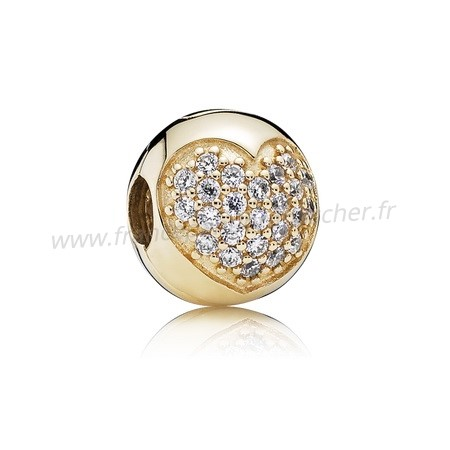 Vente Bijoux Pandora Collections Amour De Ma Vie Clip Clear Cz 14K Or Pandora Magasin