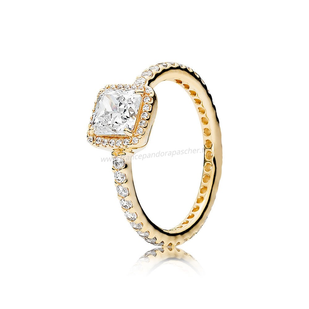 Vente Bijoux Pandora Collections Bague Elegance Intemporelle 14K Or Clear Cz Pandora Magasin