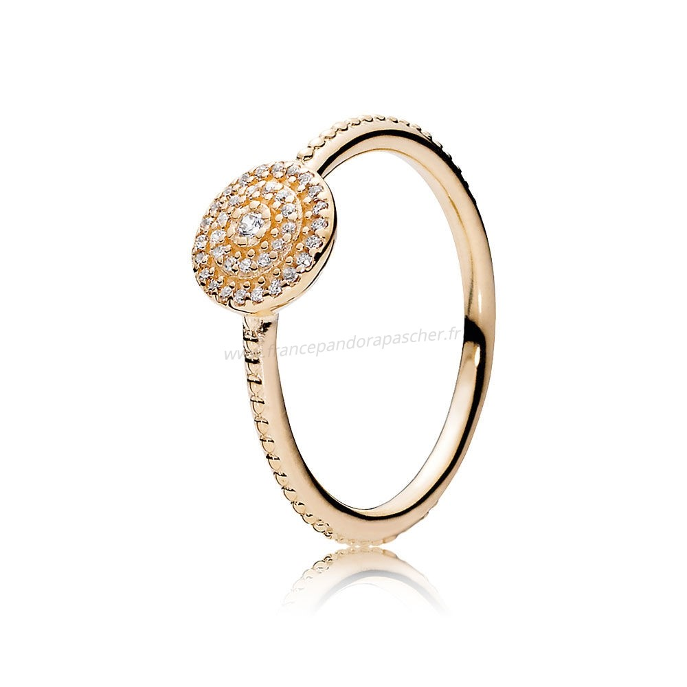 Vente Bijoux Pandora Collections Bague Elegance Rayonnante 14K Or Clear Cz Pandora Magasin