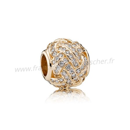 Vente Bijoux Pandora Collections Breloque Sparkling Amour Knot 14K Or Clear Cz Pandora Magasin