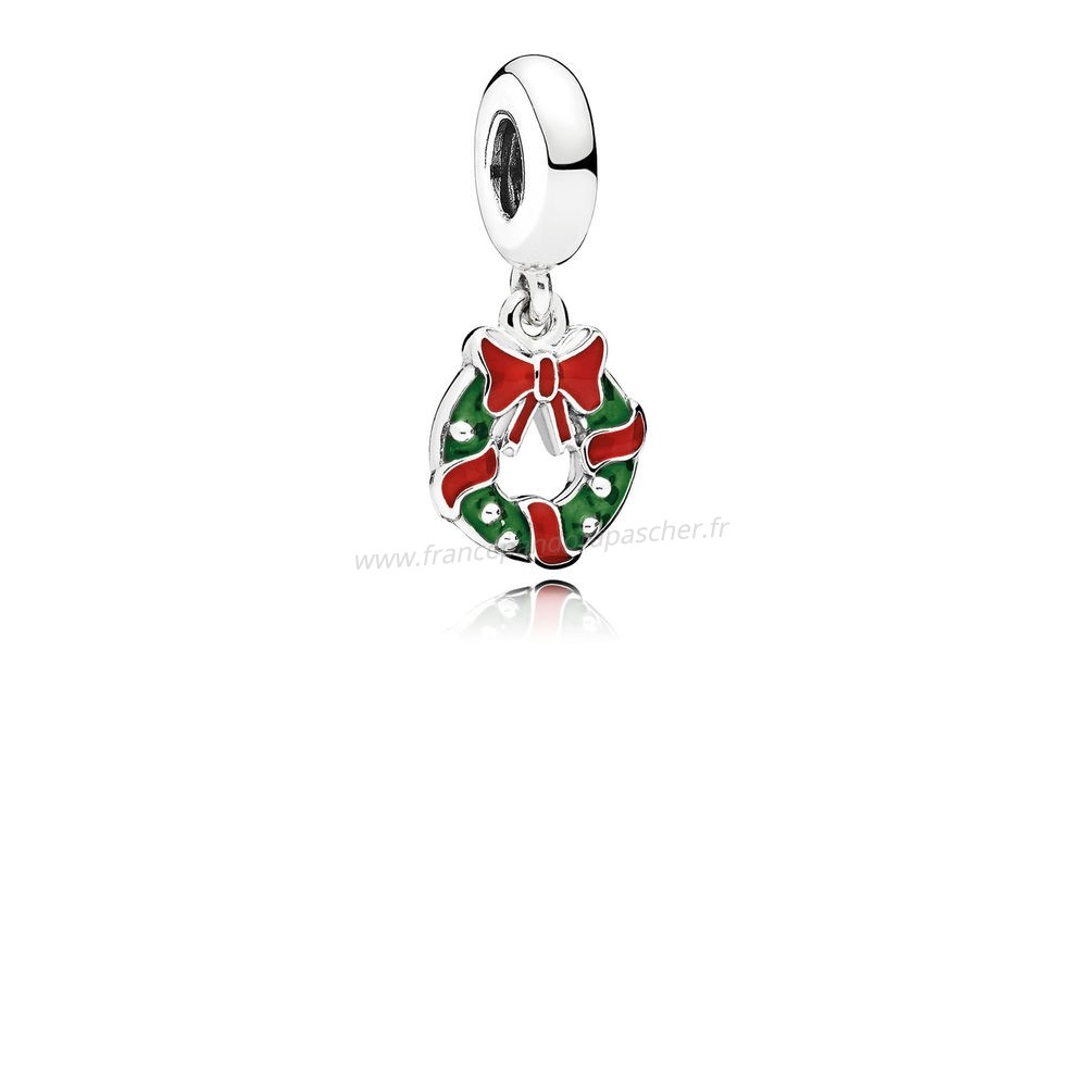Vente Bijoux Pandora Dangle Breloques Vacances Dangle Dangle Charm Berry Red Email Vert Pandora Magasin