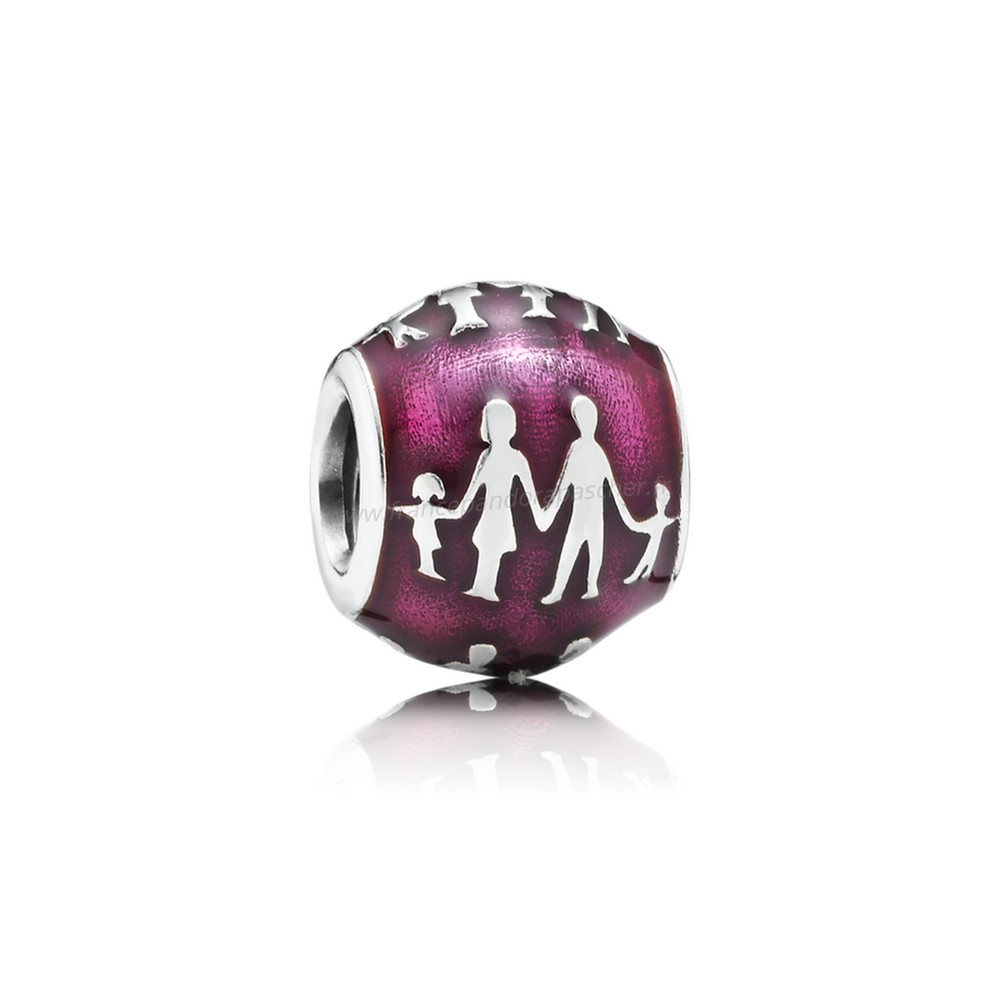Vente Bijoux Pandora Famille Charms Famille Silhouette Charm Transparent Fuchsia Email Pandora Magasin