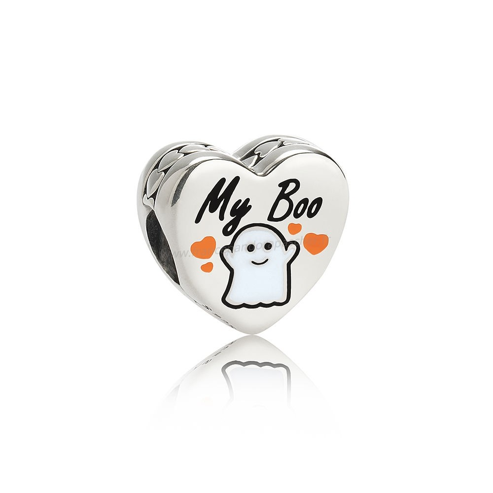 Vente Bijoux Pandora Fetes Charms Halloween Ma Boo Charm Blanc Email Pandora Magasin