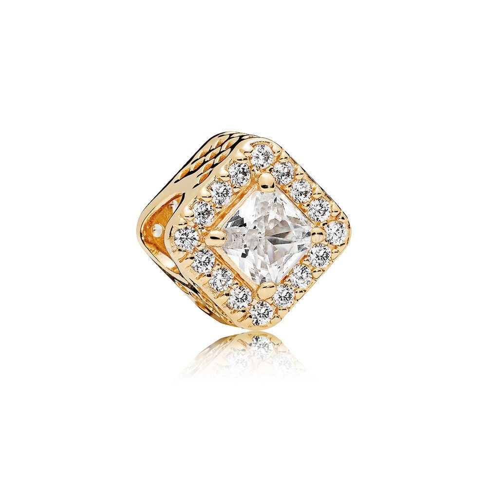 Vente Bijoux Pandora Intemporel Elegance Geometric Radiance Charm 14K Or Clear Cz Pandora Magasin