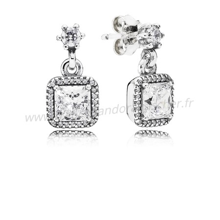 Vente Bijoux Pandora Intemporel Elegance Intemporel Elegance Drop Boucles D'Oreilles Clear Cz Pandora Magasin