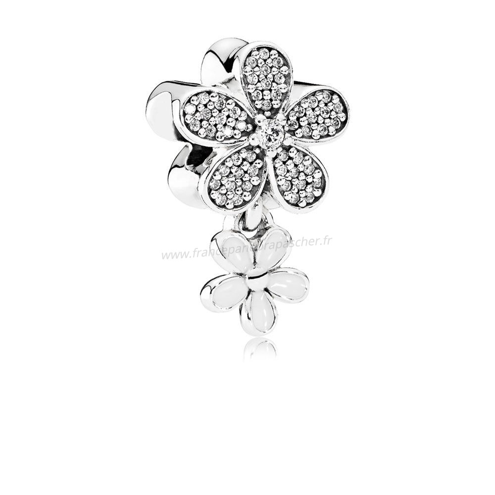 Vente Bijoux Pandora Nature Breloques Dazzling Daisy Duo Blanc Email Clear Cz Pandora Magasin