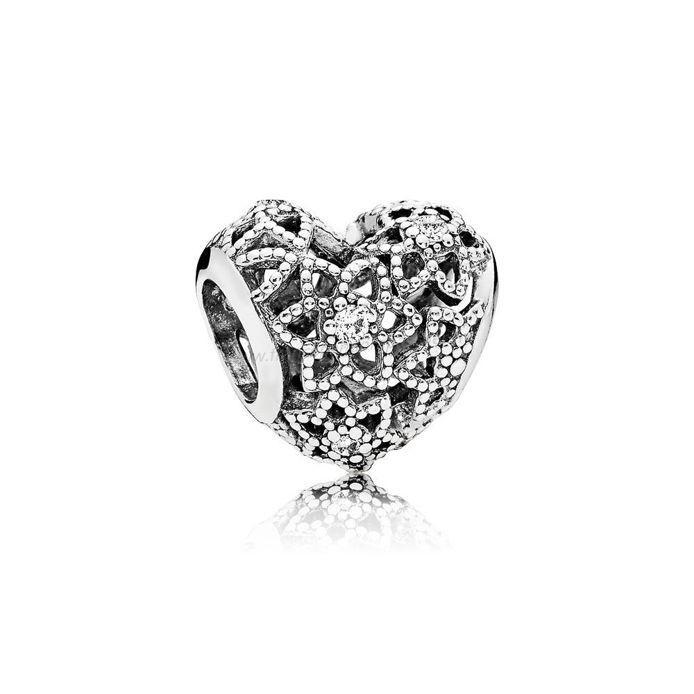 Vente Bijoux Pandora Paillettes Paves Charms Blooming Heart Charm Clear Cz Pandora Magasin