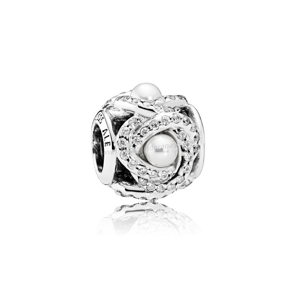 Vente Bijoux Pandora Paillettes Paves Charms Luminous Amour Knot Blanc Crystal Pearl Clear Cz Pandora Magasin