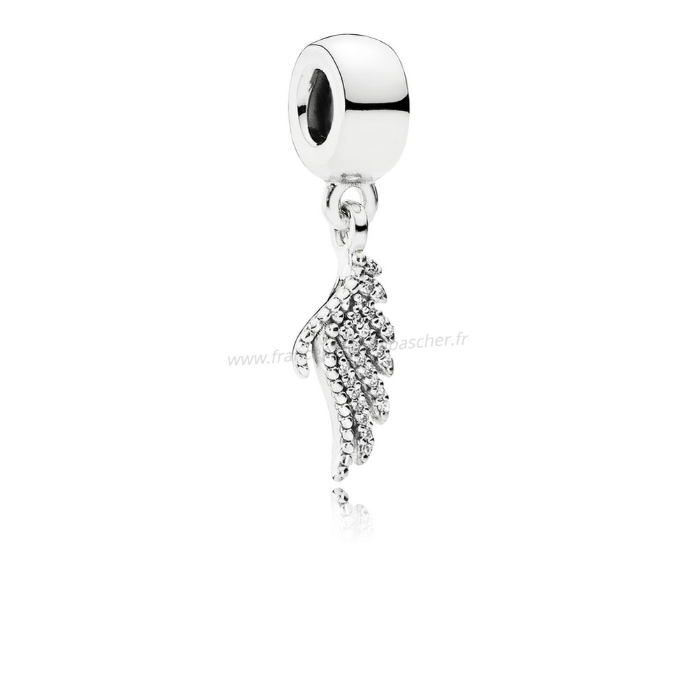 Vente Bijoux Pandora Passions Charms Chic Glamour Majestueux Feather Dangle Charm Clear Cz Pandora Magasin