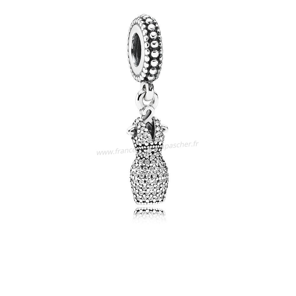 Vente Bijoux Pandora Passions Charms Chic Robe Glamour Dazzling Dangle Charm Clear Cz Pandora Magasin