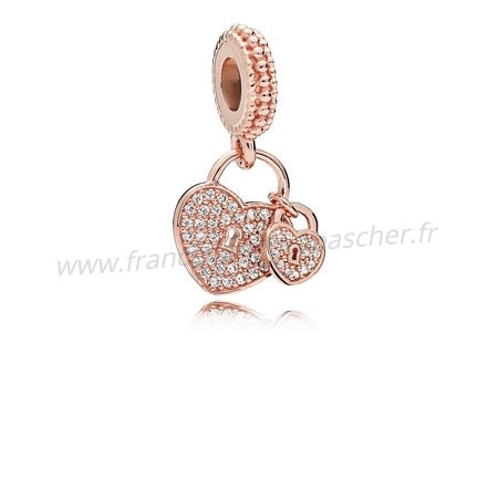 Vente Bijoux Pandora Rose Amour Serrures Dangle Charm Clear Cz Pandora Magasin