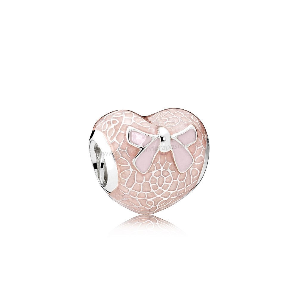 Vente Bijoux Pandora Saint Valentin Charms Rose Bow Dentelle Coeur Charm Transparent Misty Rose Soft Rose Email Pandora Magasin